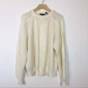 Vintage fisherman sweater Aran chunky knit cream